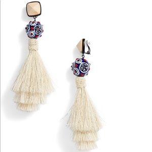 Tory Burch Stacked Tassel Clip-On Drop Earrings